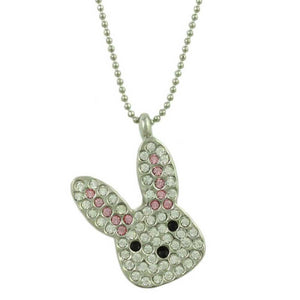 Chain with Clear and Pink Crystal Easter Bunny Head Pendant - Lilylin Designs