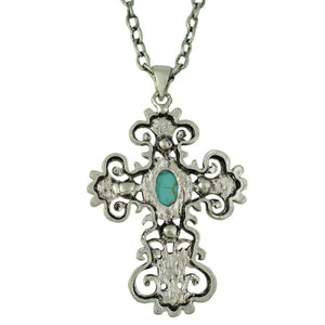 Large Antique Turquoise and Blue Crystal Cross Pendant on Silver Chain (back) - Lilylin Designs