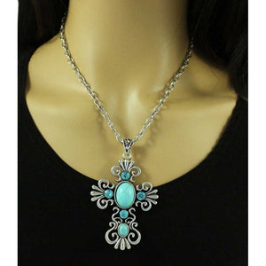 Model with Large Antique Turquoise and Blue Crystal Cross Pendant on Silver Chain - Lilylin Designs