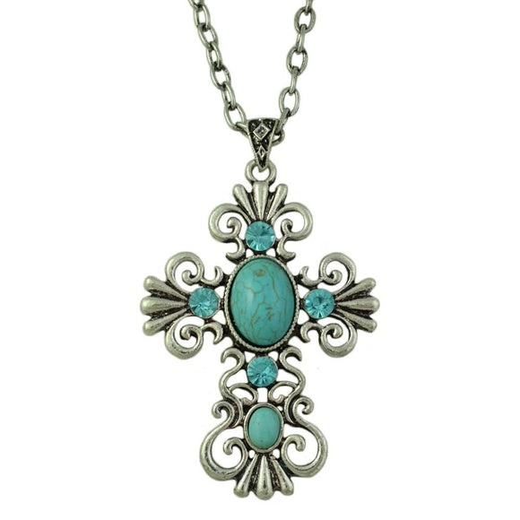 Large Antique Turquoise and Blue Crystal Cross Pendant on Silver Chain - Lilylin Designs
