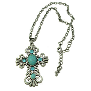 Large Antique Turquoise and Blue Crystal Cross Pendant on Silver Chain (whole) - Lilylin Designs