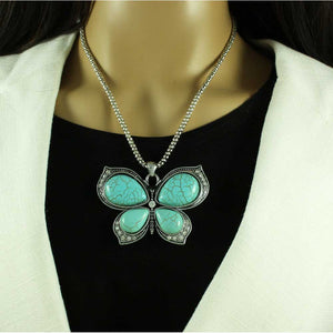 Model with Silver Chain with Large Simulated Turquoise Butterfly Pendant - Lilylin Designs
