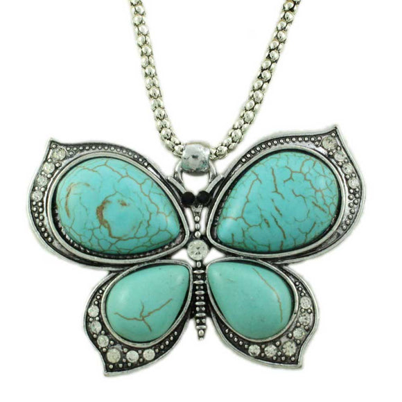 Silver Chain with Large Simulated Turquoise Butterfly Pendant - Lilylin Designs
