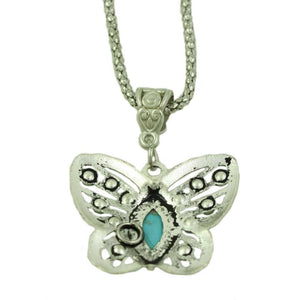 Chain with Cut Out Turquoise Crystal Butterfly Pendant (back) - Lilylin Designs