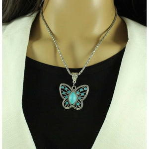 Model with Chain with Cut Out Turquoise Crystal Butterfly Pendant - Lilylin Designs