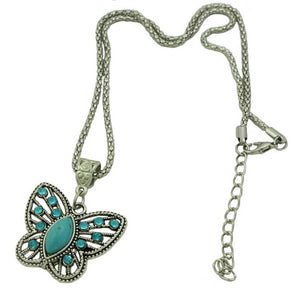 Chain with Cut Out Turquoise Crystal Butterfly Pendant (whole) - Lilylin Designs