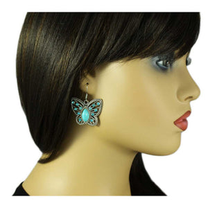 Model with Turquoise with Blue Crystals Open Butterfly Dangling Pierced Earring - Lilylin Designs