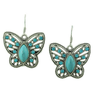 Simulated Turquoise Butterfly Pierced Earring - Lilylin Designs