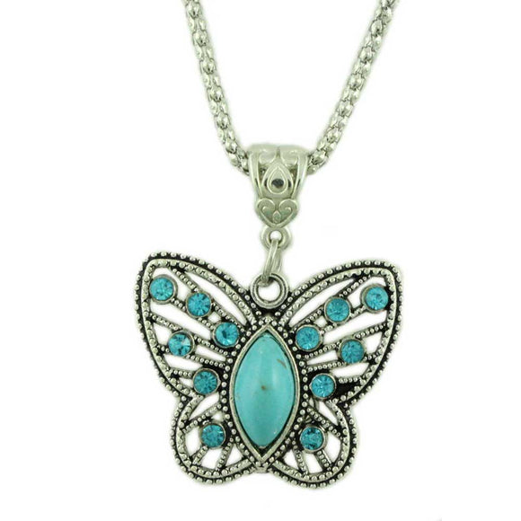 Chain with Cut Out Turquoise Crystal Butterfly Pendant - Lilylin Designs