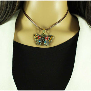 Model with Black and Brown Cord with Topaz Crystal Butterfly Necklace - Lilylin Designs