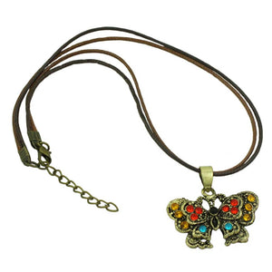 Black and Brown Cord with Topaz Crystal Butterfly Necklace (whole) - Lilylin Designs
