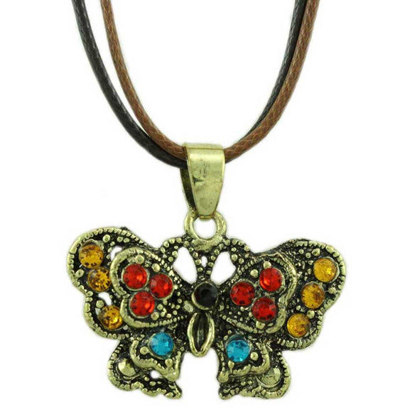 Black and Brown Cord with Topaz Crystal Butterfly Necklace - Lilylin Designs
