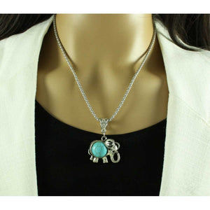 Model with Chain with Antique Silver and Turquoise Elephant Pendant - Lilylin Designs