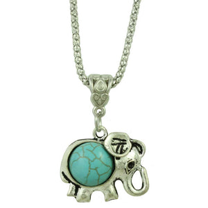 Chain with Turquoise Elephant Pendant - Lilylin Designs
