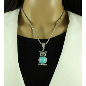 Model with Chain with Antique Silver-tone Turquoise Owl on Branch Pendant - Lilylin Designs