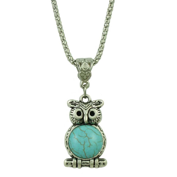 Chain with Antique Silver-tone Turquoise Owl on Branch Pendant - Lilylin Designs