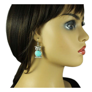 Model with Turquoise Owl Perched on Branch Dangling Pierced Earring - Lilylin Designs