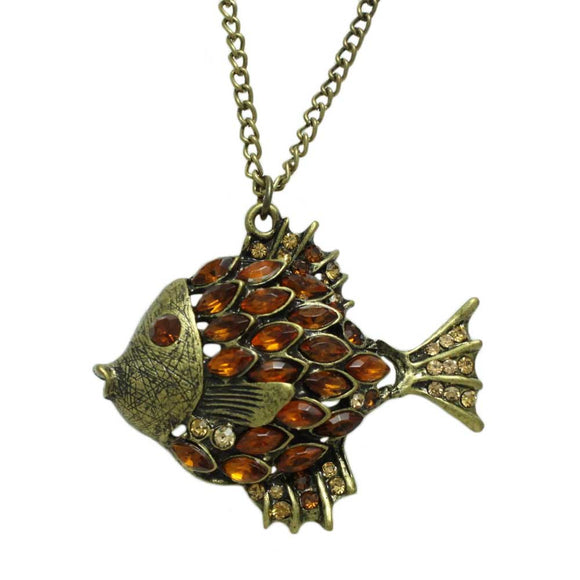 Chain with Antique Topaz Crystal Angel Fish Pendant - Lilylin Designs