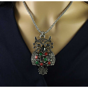 Model with Silver Chain with Large Black, Red, and Green Stone Owl Pendant - Lilylin Designs