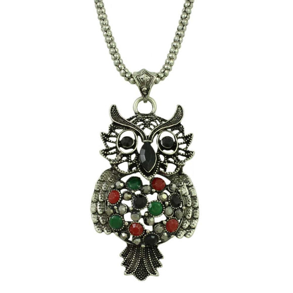 Chain with Large Black, Red, and Green Stone Owl Pendant - Lilylin Designs