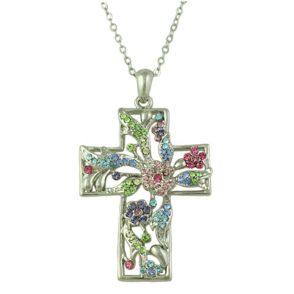 Silver-tone Chain with Large Floral Pastel Crystal Cross Pendant - Lilylin Designs