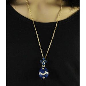 Model with Chain with Blue Celestial Egg Pendant - Lilylin Designs