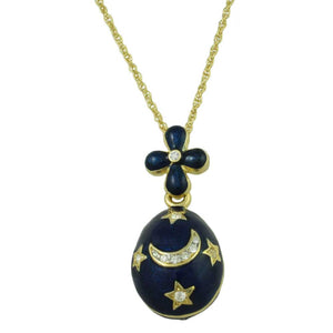 Chain with Blue Celestial Egg Pendant - Lilylin Designs
