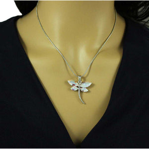 Chain with Shimmering Crystal Dragonfly Pendant - PT678