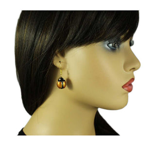 Model with Brown Enamel Ladybug with Black Head Dangling Pierced Earring - Lilylin Designs