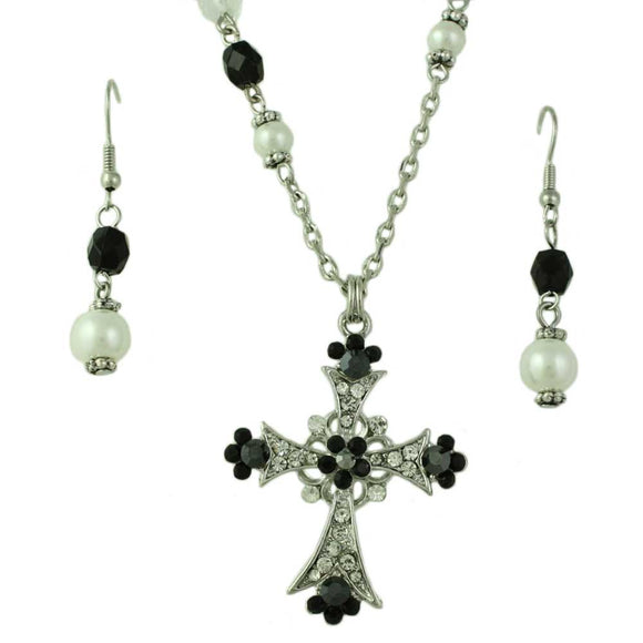 Black Crystal Cross with Pearls Necklace and Pierced Earring Jewelry Set - Lilylin Designs