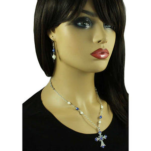 Blue Crystal and Pearl Cross Necklace and Earring Gift Set - PT723BBS