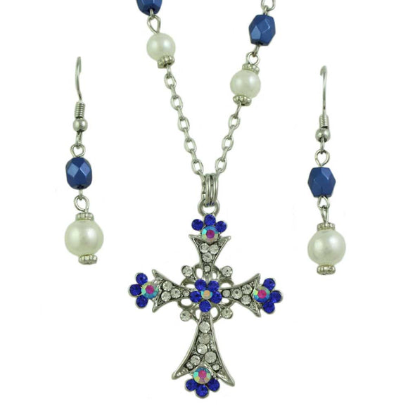 Blue Crystal Cross Necklace and Pierced Earring Set - Lilylin Designs