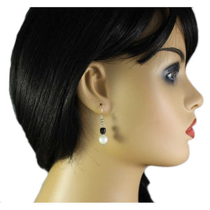Model with White Pearl with Black Bead Dangling Pierced Earring  - Lilylin Designs