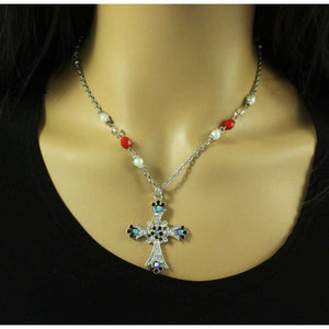 Red Crystal and Pearl Cross Necklace and Earring Set (neck) - Lilylin Designs
