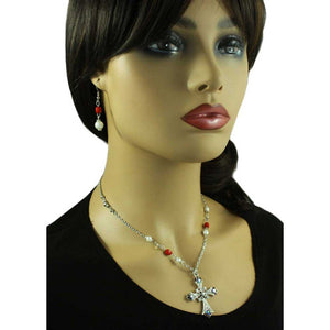 Model with Red Crystal and Pearl Cross Necklace and Earring Set - Lilylin Designs