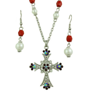 Red Crystal and Pearl Cross Necklace and Earring Set - Lilylin Designs