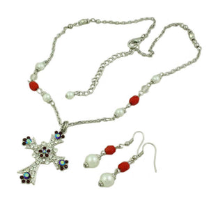 Red Crystal and Pearl Cross Necklace and Earring Set (whole) - Lilylin Designs