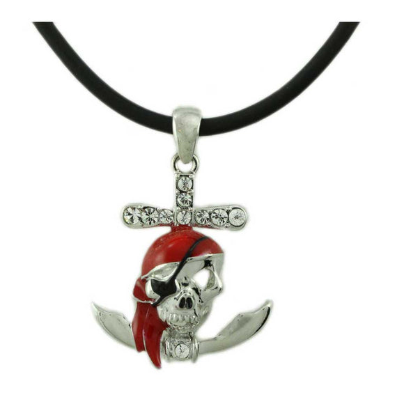 Black Rubber Cord with Red Pirate Skull Pendant Halloween Necklace - Lilylin Designs