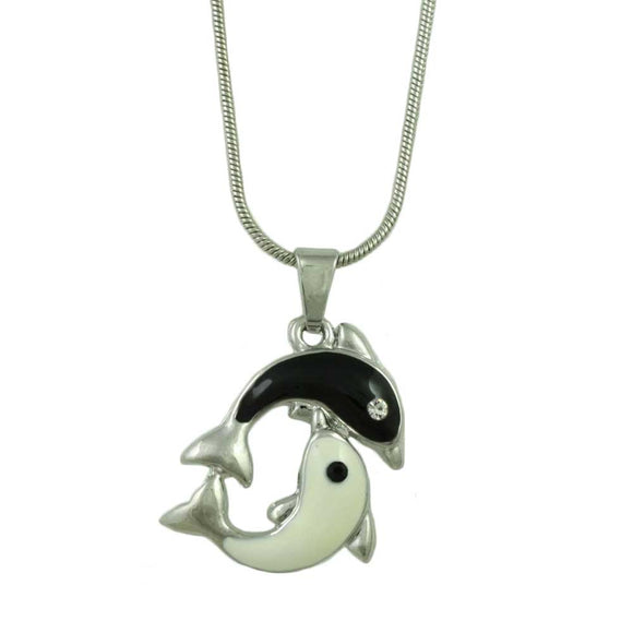 Chain with Black and White Yin Yang Dolphins Pendant - Lilylin Designs