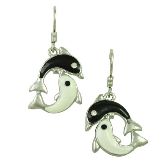 Black and White Dolphins Pierced Earring - Lilylin Designs