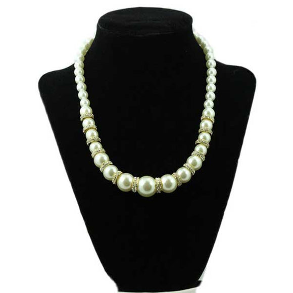 Imitation White Pearls with Gold and Crystal Rondells Necklace - Lilylin Designs