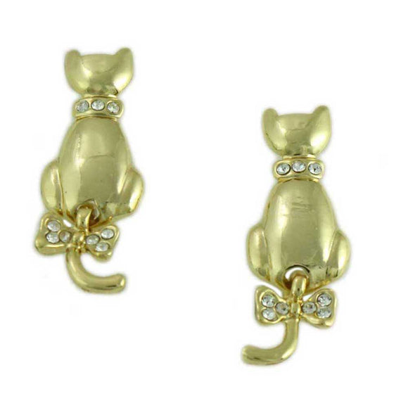 Gold Cat with Crystal Collar and Swinging Tail Pierced or Clip Earring