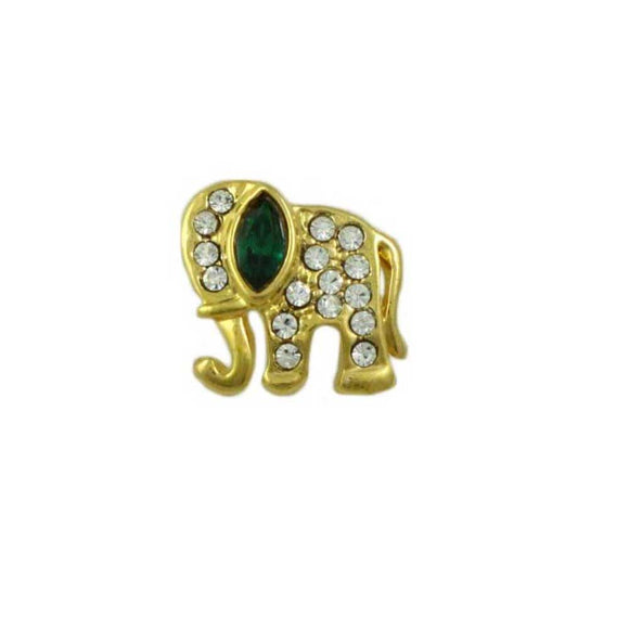 Tiny Crystal Elephant with Green Crystal Ear Tac Pin - Lilylin Designs