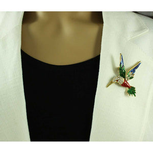 Model with Red, Blue, and Green Enamel and Crystal Hummingbird Brooch Pin - Lilylin Designs