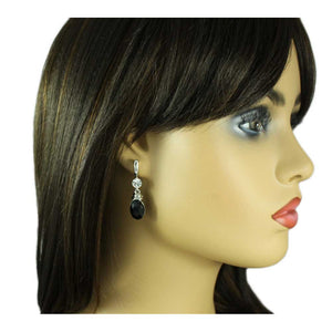 Model with Black Oval Drop with Clear Crystal Pierced Earring - Lilylin Designs
