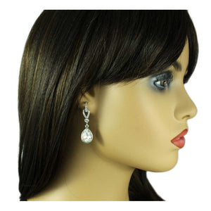Model 2 Clear Crystal Hoop with Dangling Teardrop Pierced Earring - Lilylin Designs