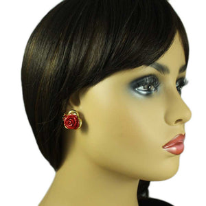 Model with Red Rose with Gold Trim and Red Crystal Pierced or Clip Earring