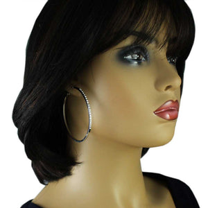 Model with Silver-tone Crystal Studded Large Hoop Pierced Earring - Lilylin Designs