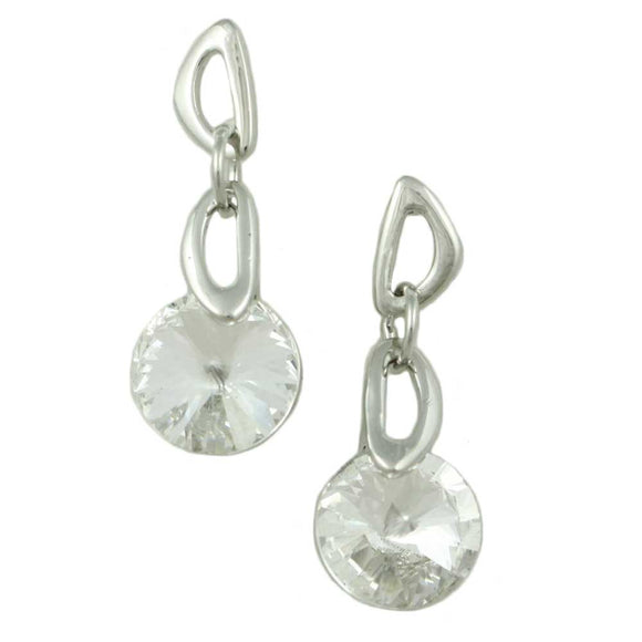 Dangling Round Clear Crystal Pierced Earring  - Lilylin Designs