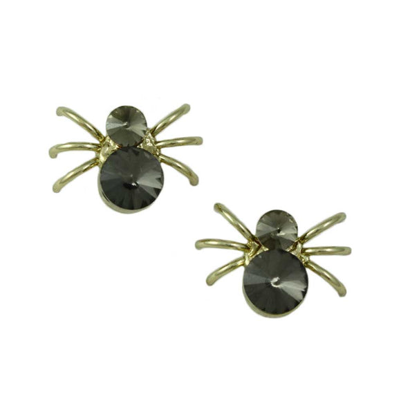 Black Diamond Crystal Gold-plated Spider Pierced or Clip Earring - Lilylin Designs